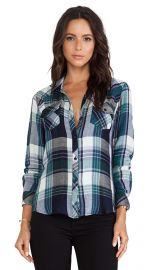 Rails Kendra Button Down in Green and Navy  REVOLVE at Revolve