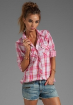 Rails Kendra Shirt in pink plad at Revolve