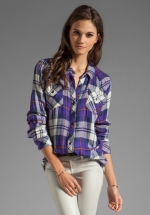Rails Kendra shirt in purple worn on Happy Endings at Revolve