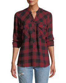 Rails Redding Frayed Plaid Button-Front Shirt at Neiman Marcus