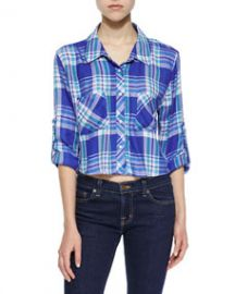 Rails Rian Plaid Cropped Shirt Blue-Violet at Neiman Marcus