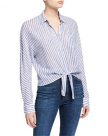 Rails Rylan Striped Tie-Front Shirt at Neiman Marcus