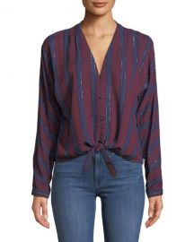 Rails Sloane Striped Metallic Tie-Front Top at Neiman Marcus