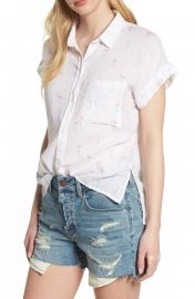 Rails Whitney Flamingo Print Linen Blend Shirt at Nordstrom
