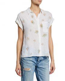 Rails Whitney Palm-Print Linen Top at Neiman Marcus