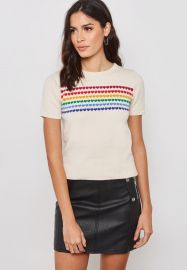 Rainbow Heart Short Sleeve Sweater at Forever 21