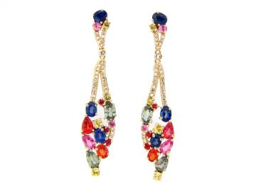 Rainbow Sapphire  Diamond Drop Earring by Dilamani at Dilamani