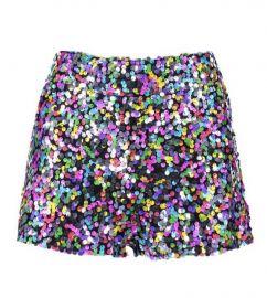 Rainbow Sequin Hot Pant at Boohoo