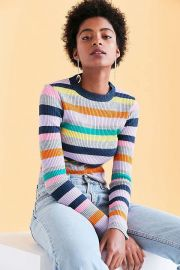Rainbow Stripe Crew-Neck Sweater by Silence + Noise at Urban Outfitters at Urban Outfitters