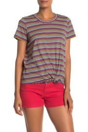 Rainbow Stripe Knot Front Tee at Nordstrom Rack