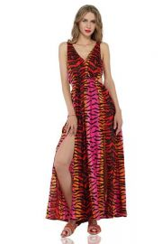 Rainbow Tiger Print Maxi Dress by America & Beyond at America and Beyond