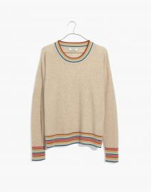 Rainbow-Trim Cashmere Sweatshirt at Madewell