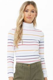 Rainbow striped turtleneck sweater at Forever 21