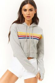 Rainbow striped zip up hoodie at Forever 21