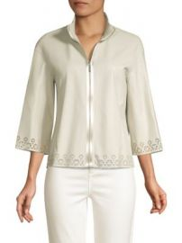 Rainer Eyelet Lace-Trim Leather Jacket at Saks Fifth Avenue