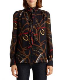 Ralph Lauren Printed Tie Neck Top Women - Bloomingdale s at Bloomingdales