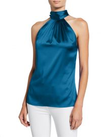 Ramy Brook Lori Tie-Neck Silk Halter Top at Neiman Marcus