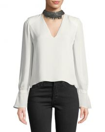 Ramy Brook Annete Embellished Silk Bell-Sleeve Top at Neiman Marcus