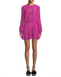 Ramy Brook Becca Shirred Split-Sleeve Flounce Short Dress at Neiman Marcus