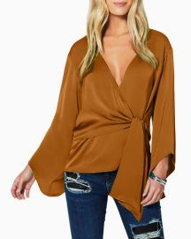 Ramy Brook Cassandra Long-Sleeve Tie-Front Blouse at Neiman Marcus
