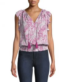 Ramy Brook Donnie Printed Ruffle Blouson Top at Neiman Marcus