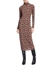 Ramy Brook Heidi Floral Long-Sleeve Midi Bodycon Dress at Neiman Marcus
