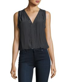Ramy Brook Julia V-Neck Sleeveless Top with Ring Details   Neiman at Neiman Marcus
