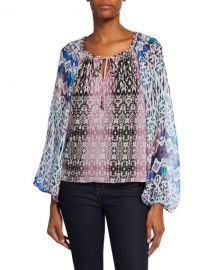 Ramy Brook Kayden Printed Blouson-Sleeve Blouse at Neiman Marcus