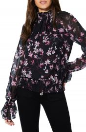 Ramy Brook Keisha Floral Print Smocked Silk Blouse   Nordstrom at Nordstrom