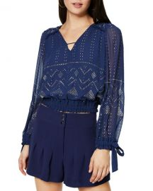 Ramy Brook Leeor Embellished Long-Sleeve Top at Neiman Marcus