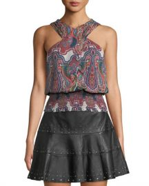 Ramy Brook Lorenza Printed Cross-Front Silk Top at Neiman Marcus