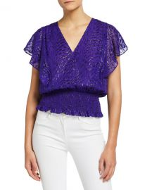 Ramy Brook Lynette Metallic Flutter-Sleeve Smocked-Hem Top at Neiman Marcus