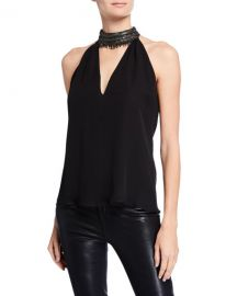 Ramy Brook Raelyn Embellished Halter Top at Neiman Marcus