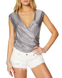 Ramy Brook Rumi Faux-Wrap Foil Top at Neiman Marcus