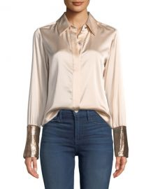 Ramy Brook Talia Silk Button-Down Top with Metallic Cuffs at Neiman Marcus