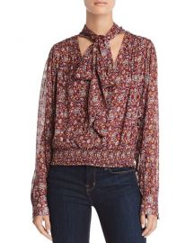 Ramy Brook Tie Neck Paisley Silk Top at Bloomingdales