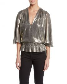 Ramy Brook Tonya Metallic Peplum Top at Bergdorf Goodman