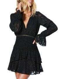Ramy Brook Wells Metallic Burnout V-Neck Long-Sleeve Mini Dress at Neiman Marcus
