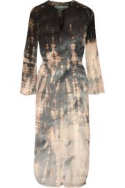 Raquel Allegra  Tie-dyed crinkled silk-crepe midi dress at Net A Porter