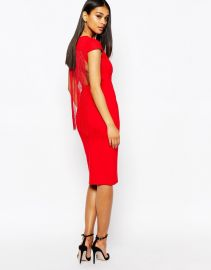 Rare  Rare London Bodycon Dress With Fringe Back at Asos