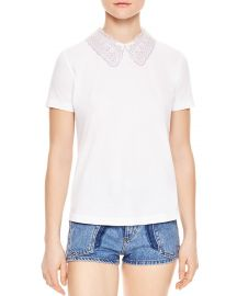 Rare Lace Collar Keyhole Tee by Sandro at Bloomingdales