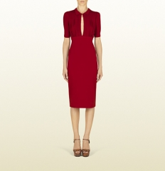 Raspberry open front dress at Gucci