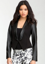 Ravenna Leather Contrast Blazer by Bebe at Bebe