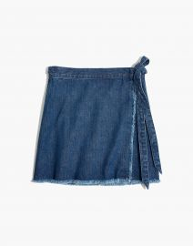 Raw-Hem Mini Wrap Skirt in Cardiff Wash by Madewel at Madewell