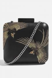 Real Leather Bird Boxy Clutch at Topshop
