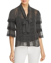 Rebecca Taylor Pebble Print Silk Chiffon Blouse at Bloomingdales