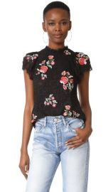 Rebecca Taylor Short Sleeve Lace Top with Embroidery at Shopbop