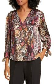 Rebecca Taylor Snakeskin Print Tie Cuff Top   Nordstrom at Nordstrom