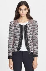 Rebecca Minkoff Roxy Studded Multi Stripe Boucl Jacket at Nordstrom