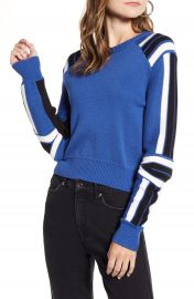Rebecca Minkoff Stripe Detail Cotton Blend Sweater   Nordstrom at Nordstrom